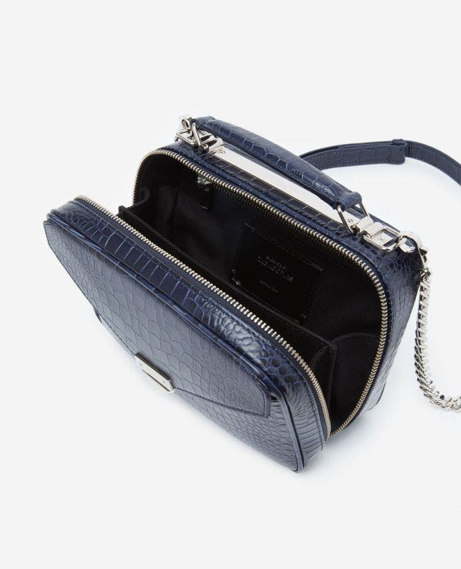 Medium blue Barbara bag in crocodile leather