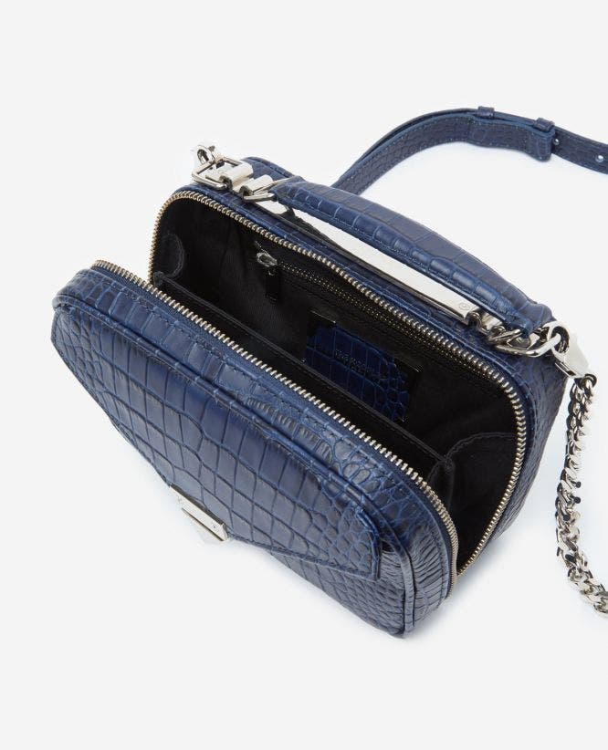 Mini blue Barbara bag in crocodile leather