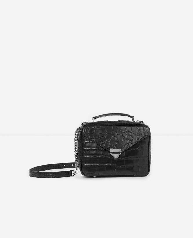 Medium black Barbara bag in crocodile leather