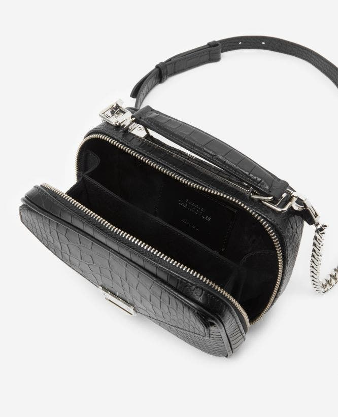 Mini black Barbara bag in crocodile leather