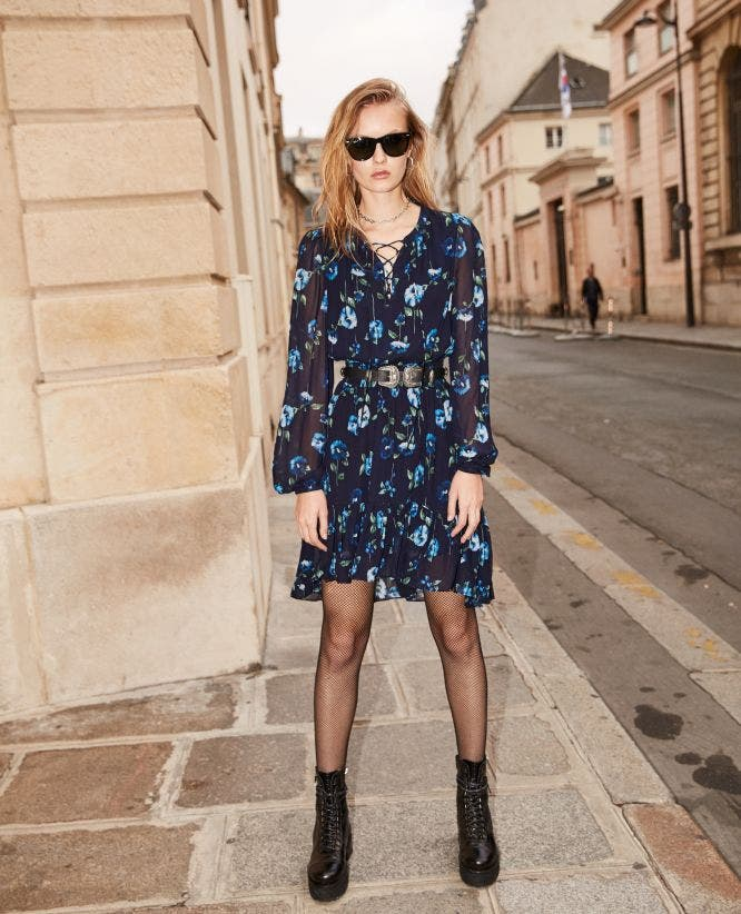 Short printed long-sleeve dress