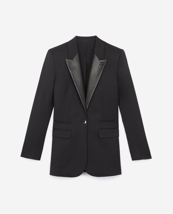 Wool black formal jacket with leather lapels