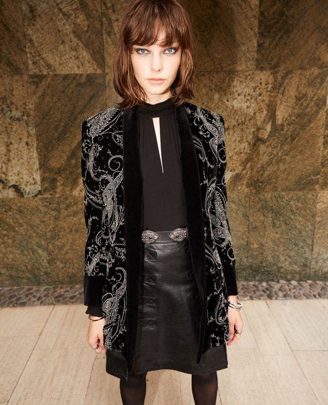 Embroidered kimono-style black velvet jacket
