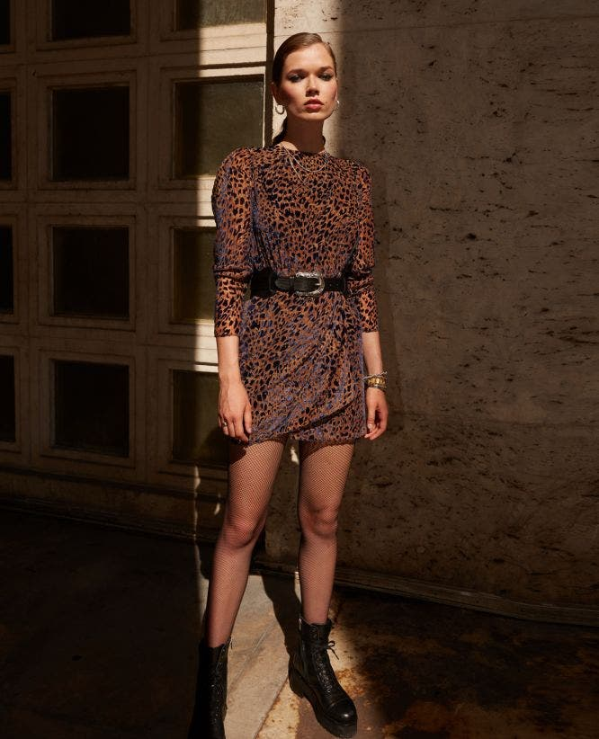 Short velvet rock'n'roll printed dress