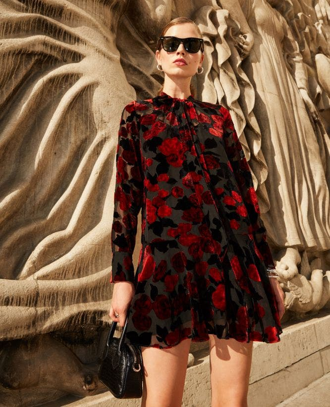 Short frill dress in black floral print