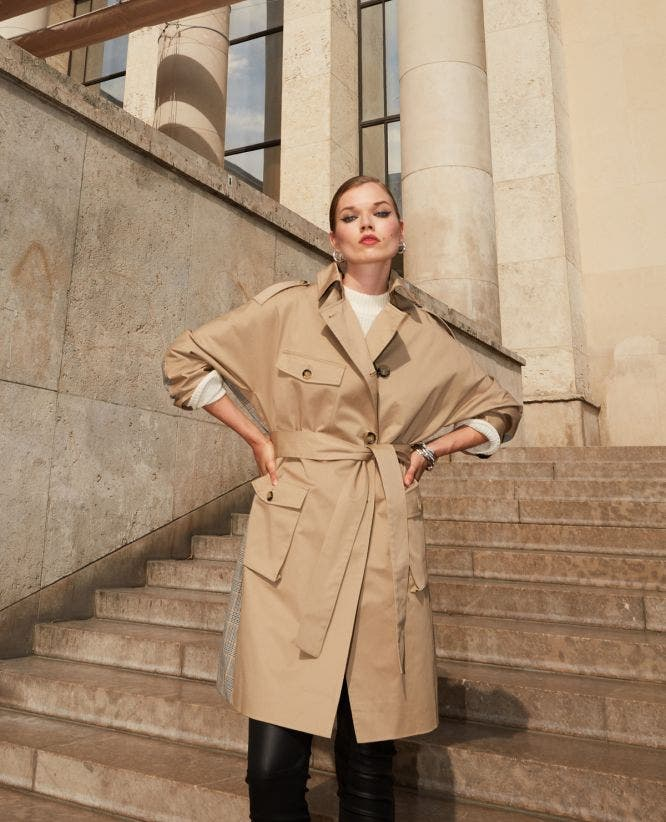 Beige dual fabric long checked coat