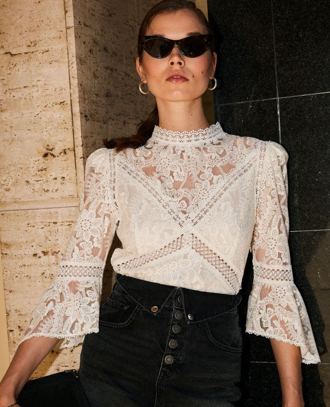 Ecru lace top with crew neck