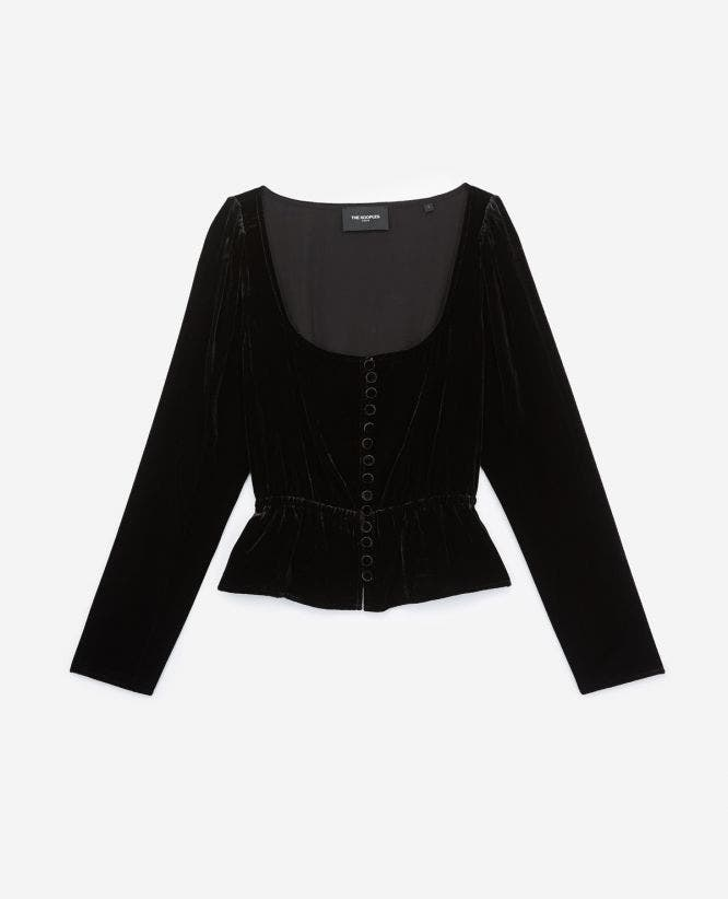 Buttoned black velvet top with peplum