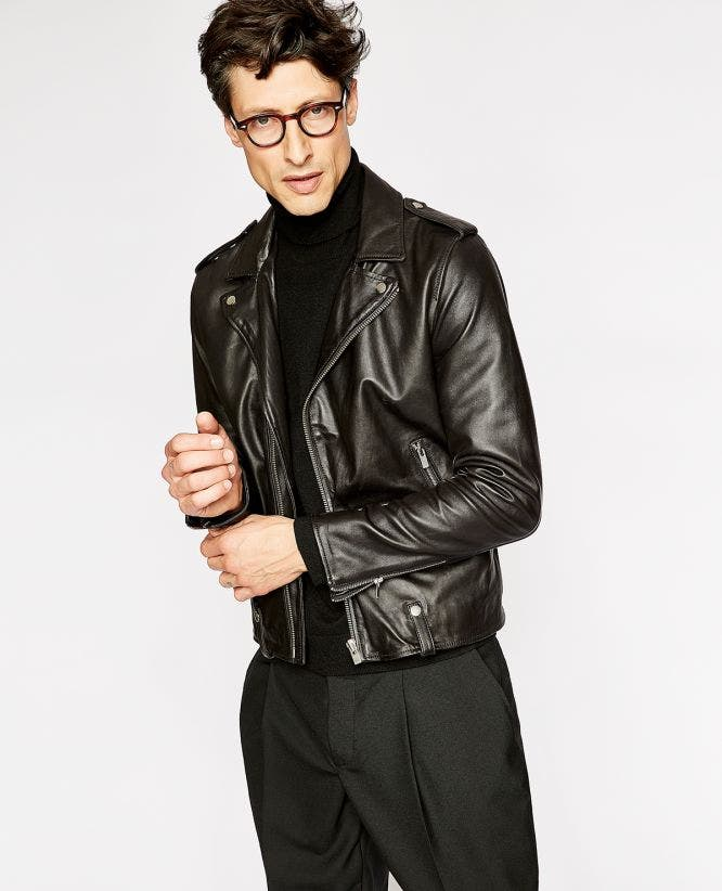 Black smooth leather biker jacket