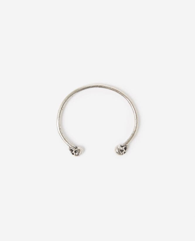 Silver brass skull bangle