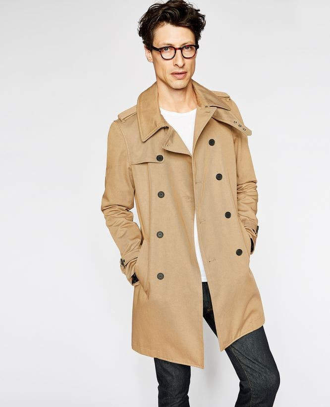 Double-breasted trench coat in cotton twill