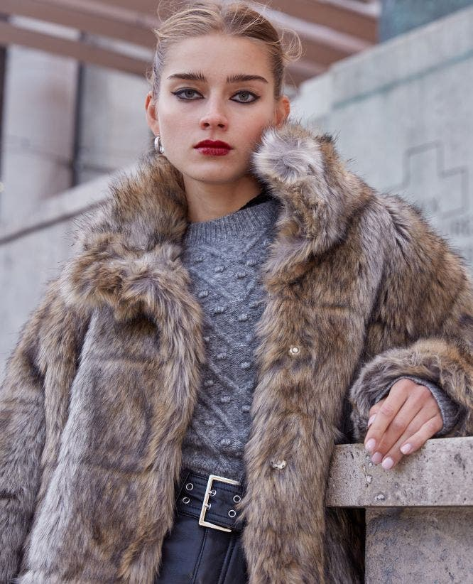 gray faux fur coat with high neck