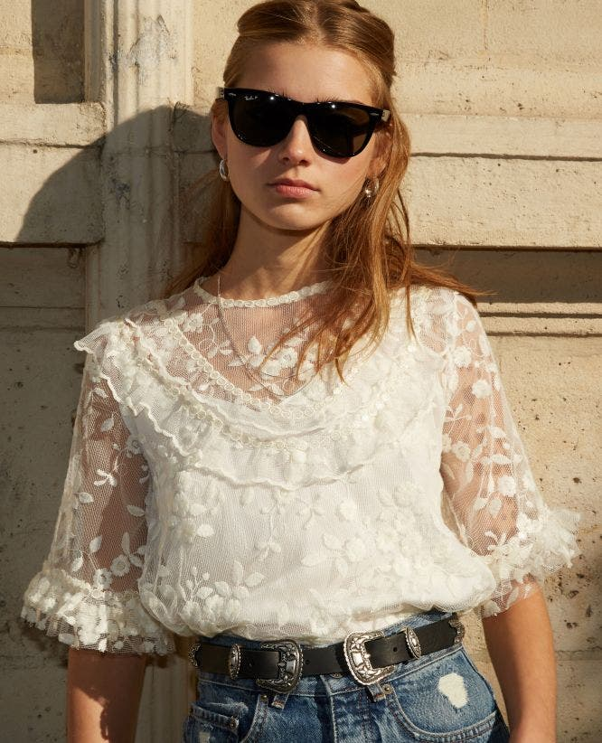 Ecru lace top with panel and frills