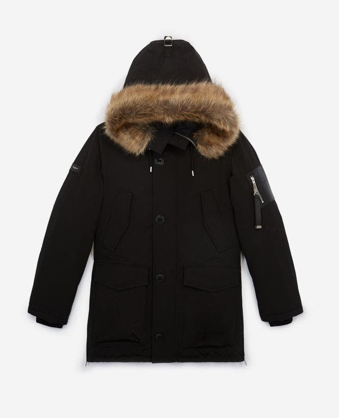 Long black polyester parka with hood