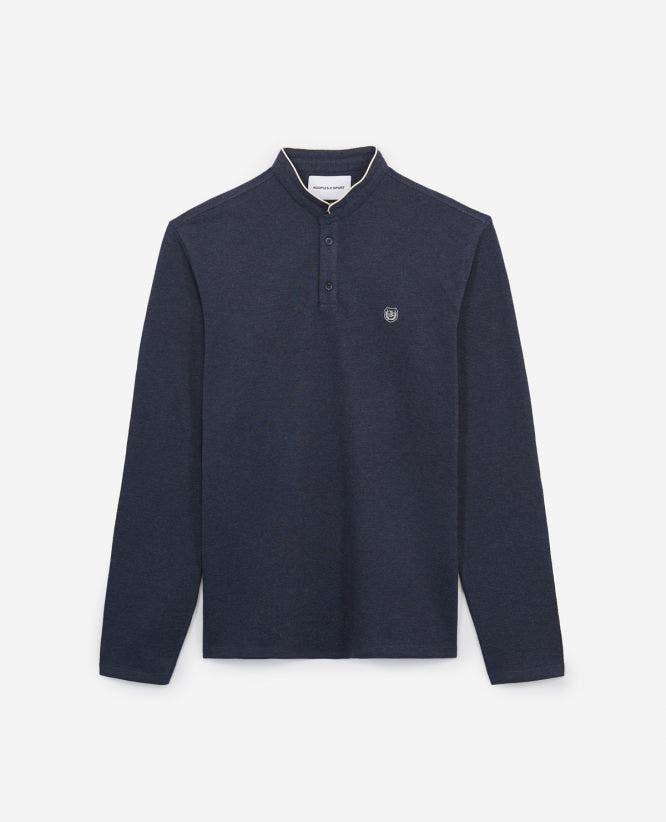 Blue embroidered cotton polo w/ecru insignia
