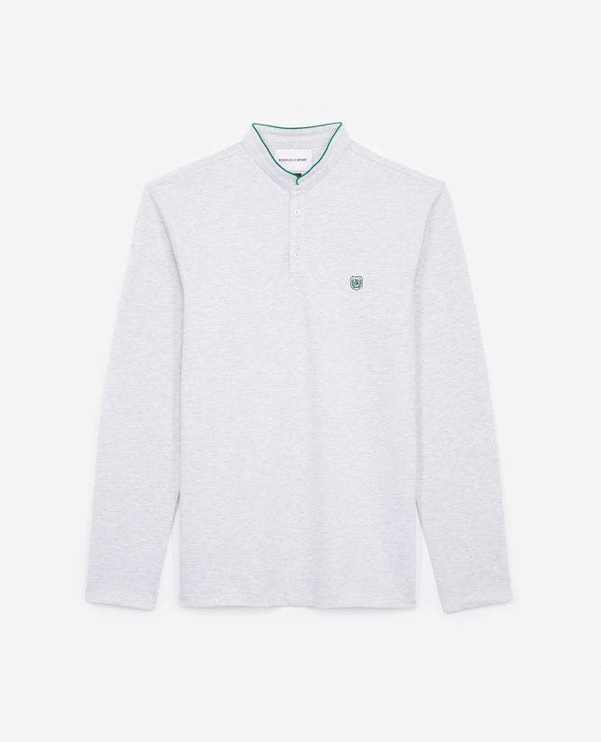 Slim-fit white polo w/officer collar+slits