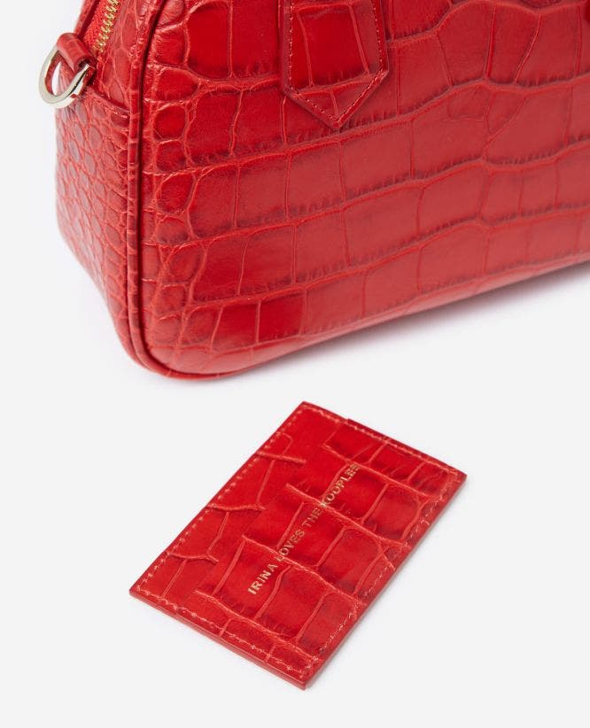 Medium red crocodile-print bag Irina by The Kooples