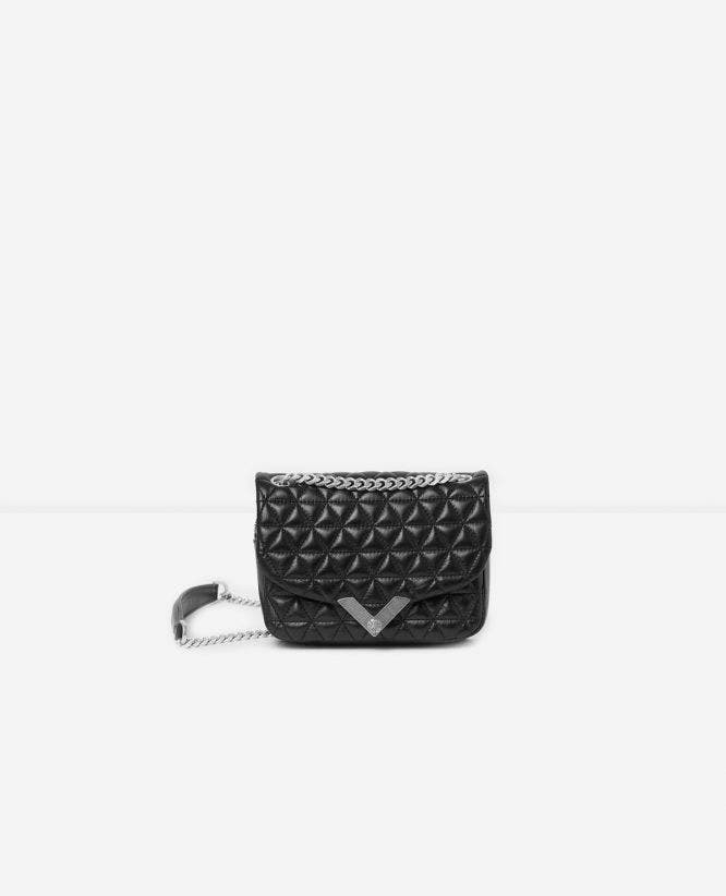 Mini black leather bag Stella by The Kooples