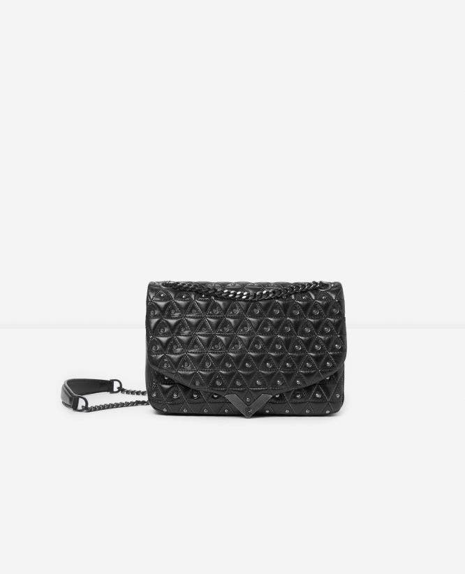 Medium black leather bag with silver studs Stella by The Kooples