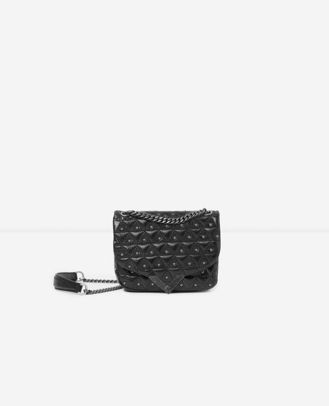 Mini black leather bag with silver studs Stella by The Kooples
