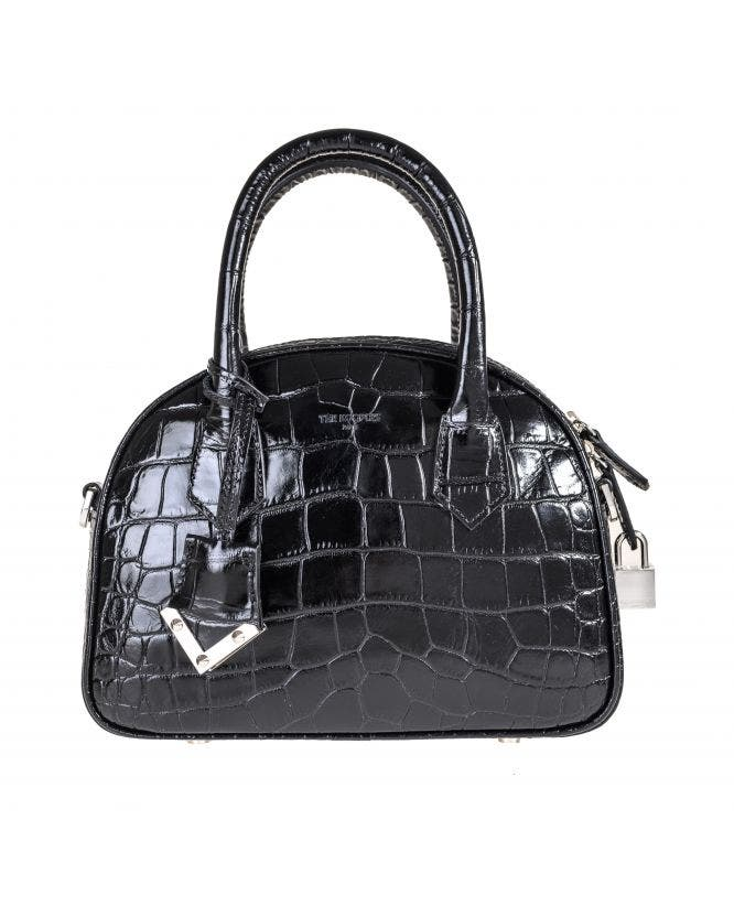Mittlere Tasche Irina by The Kooples in Kroko-Optik in Schwarz