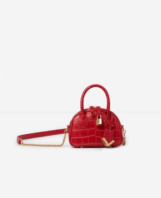 Red crocodile-print nano bag Irina by The Kooples