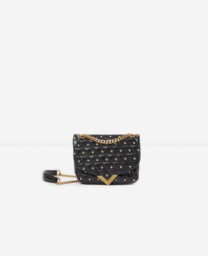 Mini black leather bag with golden studs Stella by The Kooples