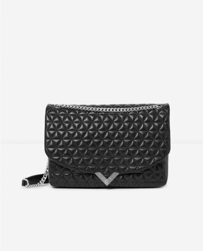Large black leather bag Stella by The Kooples
