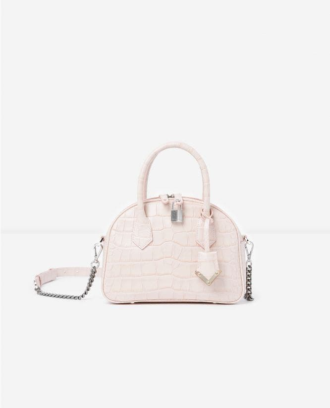 Mittlere Tasche Irina by The Kooples in Kroko-Optik in Rosa