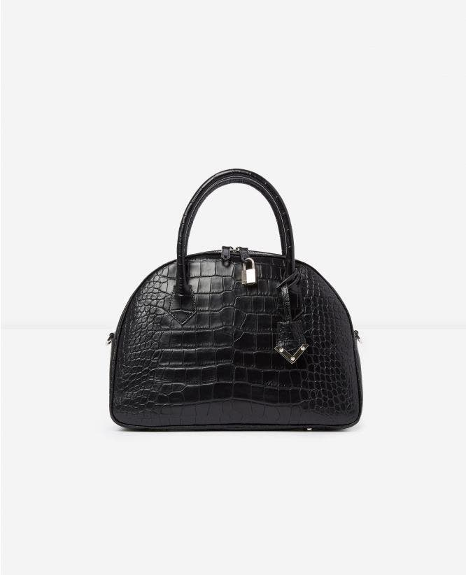 Large black crocodile-print bag Irina by The Kooples