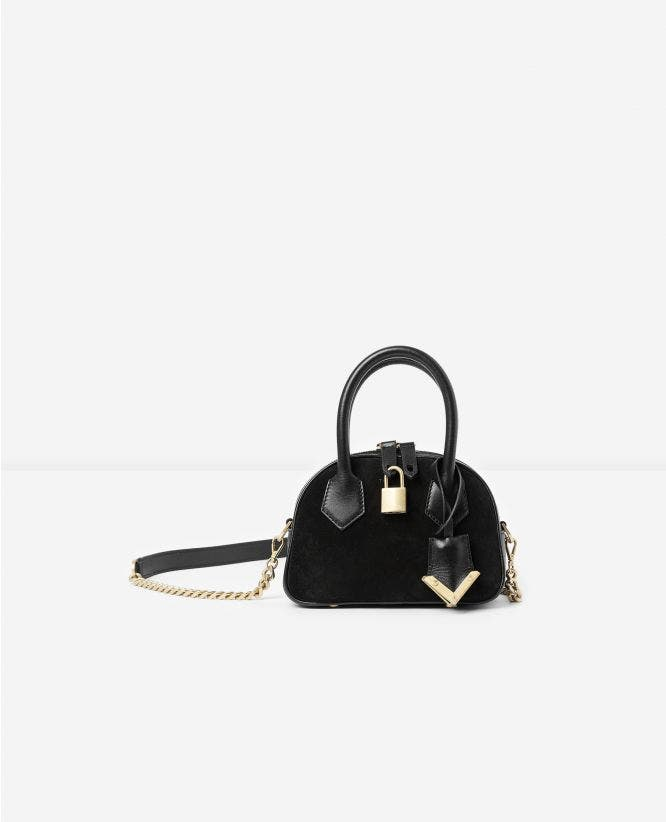 Black suede nano bag Irina by The Kooples