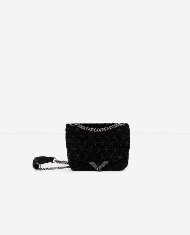 Mini black velvet bag Stella by The Kooples