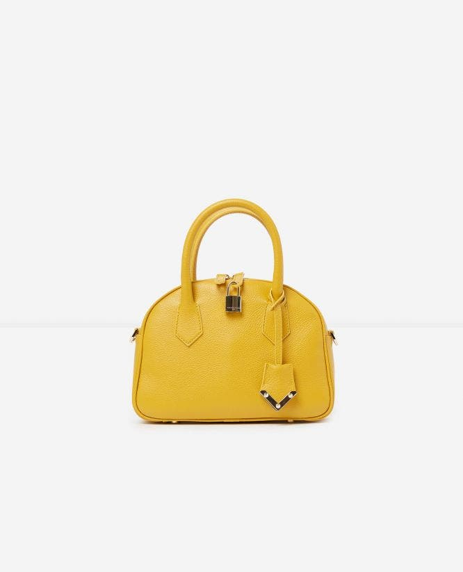 Medium yellow leather bag Irina by The Kooples