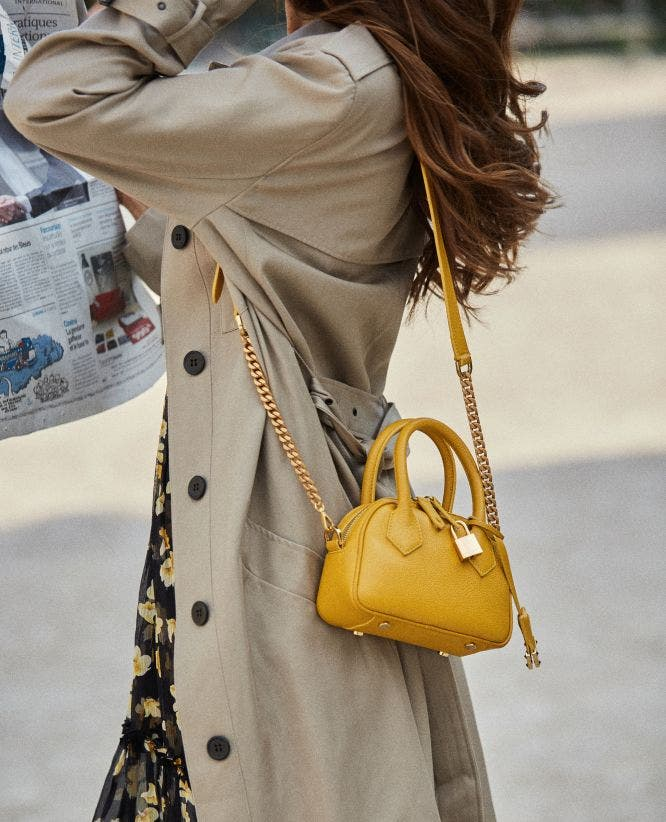 Yellow leather nano bag Irina by The Kooples