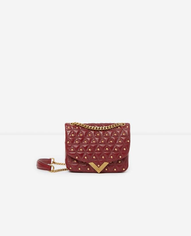 Mini burgundy leather bag with golden studs Stella by The Kooples