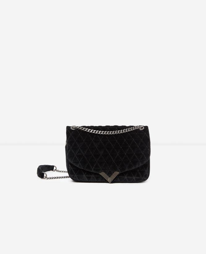 Medium black velvet bag Stella by The Kooples
