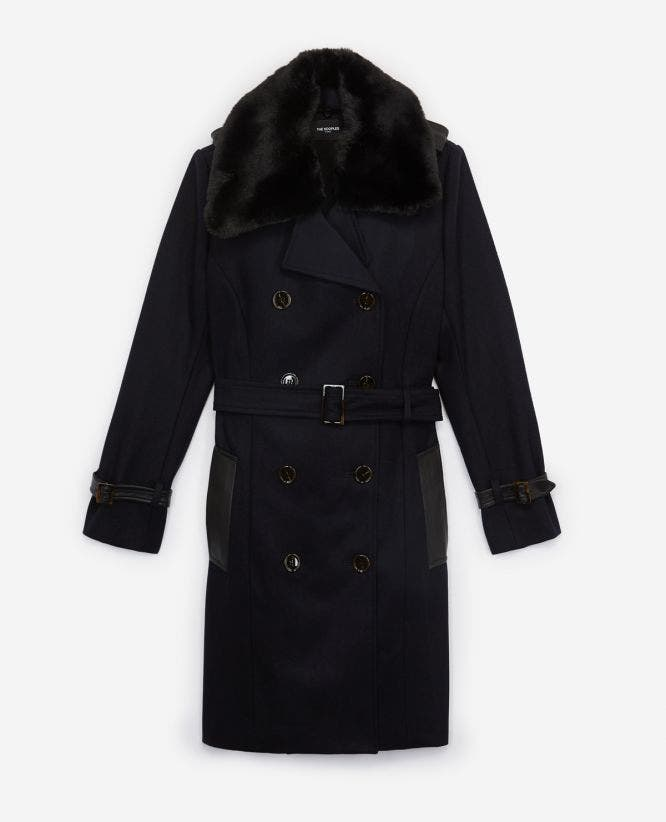 Blue wool coat with insert