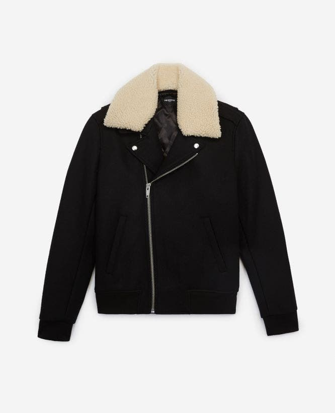 Black wool biker jacket with sheepskin collar