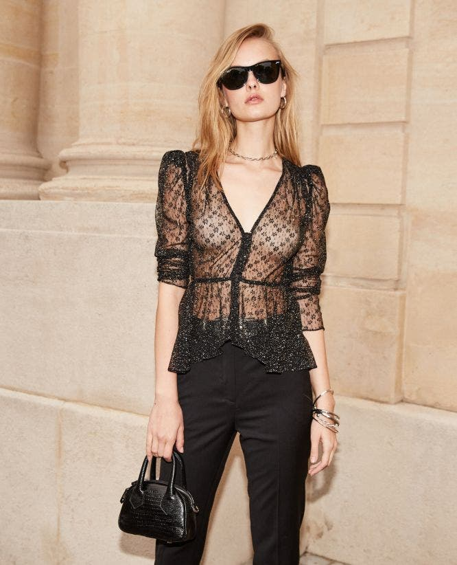 Buttoned black lace top with sequins