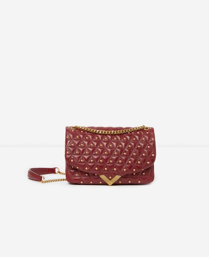 Middelgrote tas Stella by The Kooples bordeaux leer met vergulde studs