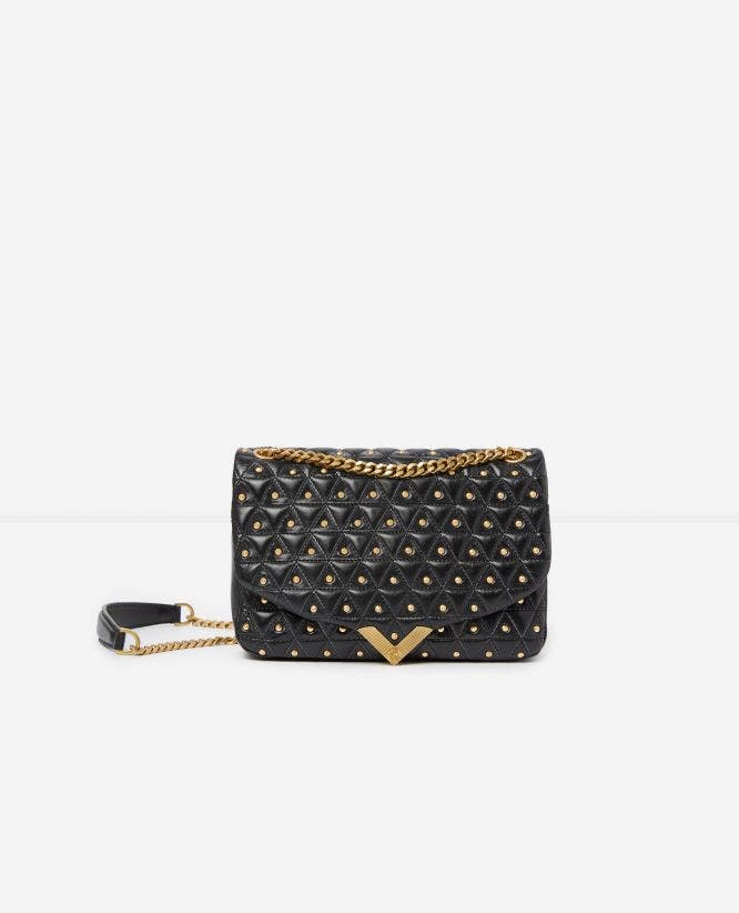 Medium black leather bag with golden studs Stella by The Kooples