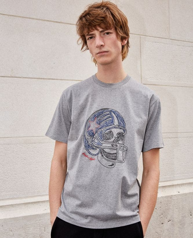 Grey cotton T-shirt with skull embroidery