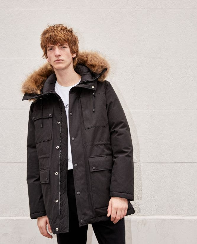 Black polyester parka w/multiple pockets