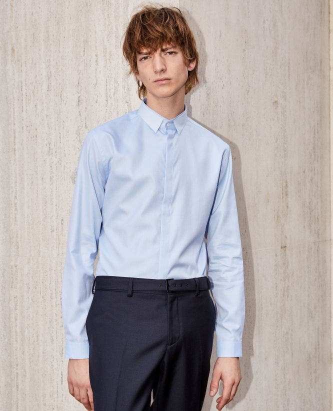 Slim blue cotton shirt with classic collar
