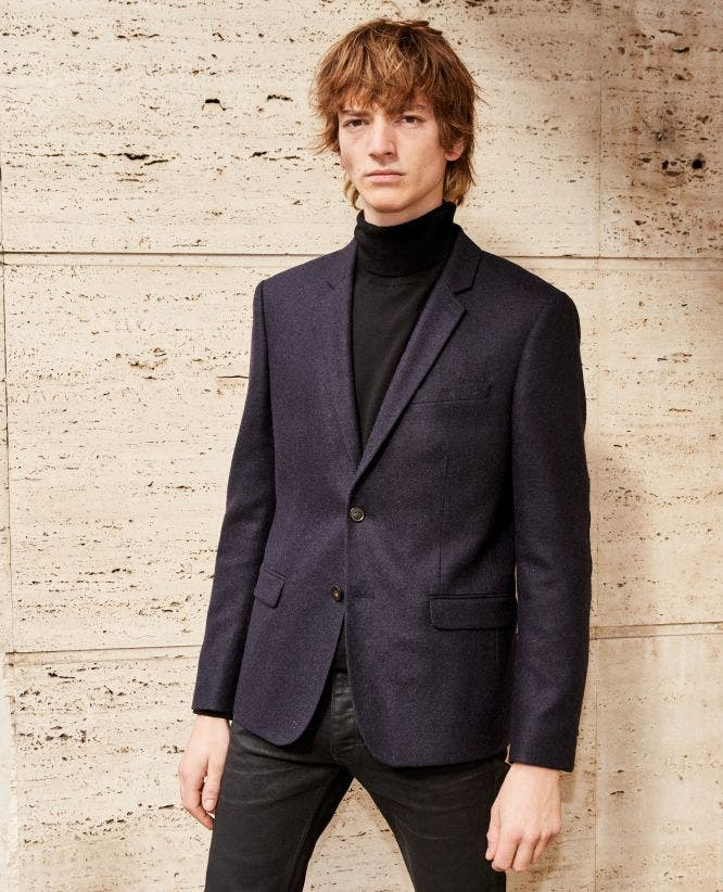 Black wool jacket with leather elbow patches