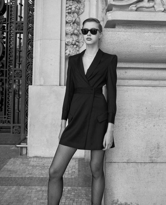 Short black mesh wrap dress