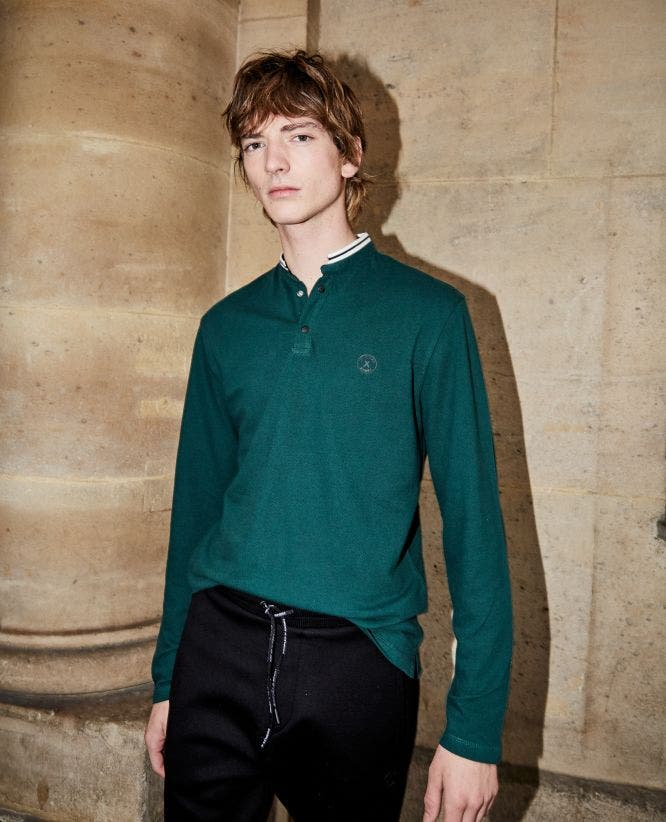 Green cotton pique polo with long sleeves