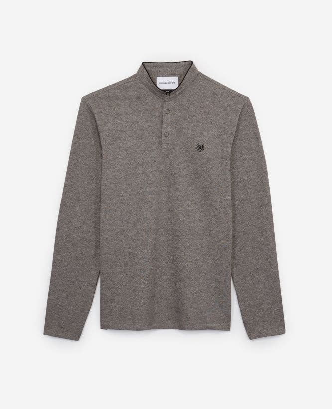 Grey cotton polo w/buttoned officer collar