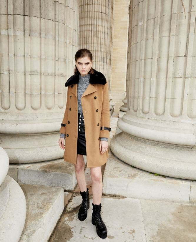 Camel trench style long wool coat