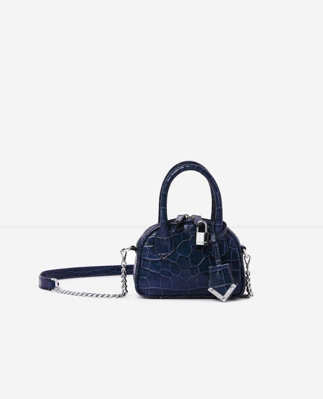 Nano-Tasche Irina by The Kooples in Kroko-Optik in Blau